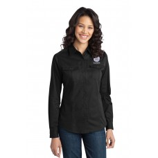 Ladies Stain-Resistant Roll Sleeve Twill Shirt