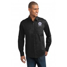 Stain-Resistant Roll Sleeve Twill Shirt